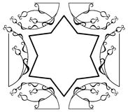 Star of David on a floral background Royalty Free Stock Photography