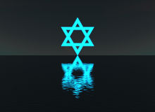 Star of David glowing over water at night Royalty Free Stock Photos