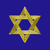 Star of David golden sign with blue background. Gold Star of David (Shield of David, Magen David) six-pointed symbol isolated with blue background Royalty Free Stock Images