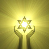 Star of David hand support light flare Royalty Free Stock Photography