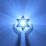 Star of David hand support light flare Stock Image