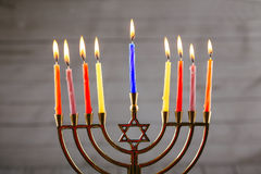 Star of David Hanukkah menorah. Hanukkah candles Stock Images