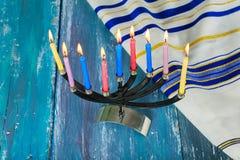 Star of David Hanukkah menorah royalty free stock photos