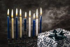 Star of David Hanukkah menorah stock images