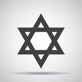 Star of David icon with shadow on a gray background. Vector illustration Stock Photos