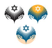 Star of David icons. Hanukkah symbol vector illustration