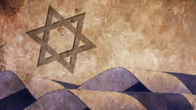 Star of David and Israel Flag Waves. On Concrete Stock Photography