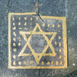 Star of david in a jewish cemetery in poland. Royalty Free Stock Image
