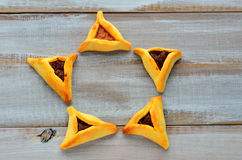 Star of David made out of Purim Cookies Royalty Free Stock Photography