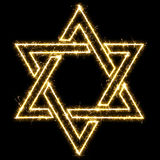 The star of David made of sparkler. Isolated on a black backgrou Royalty Free Stock Photography