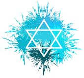 Star of David made with spots isolated. The Star of David is the symbol that represents the Jewish religion. In this image it is resting on a colorful texture Stock Photo