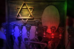 Star of David and Menorah Stock Photo