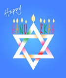 Star of David and Menorah for Hanukkah. Vector Illustration card with traditional objects - Star of David and Menorah or hanukkiya for the Jewish holiday of vector illustration