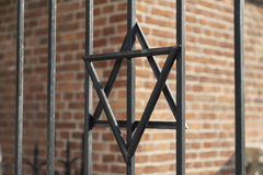 Star of David on metal fence of Old Synagogue in Cracow , Poland Royalty Free Stock Photography