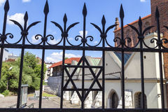 Star of David on metal fence of Old Synagogue ,Krakow, Poland Royalty Free Stock Photos
