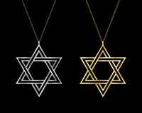 Star of David necklaces. Royalty Free Stock Photography