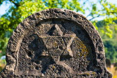 Star of David on the old gravestone Royalty Free Stock Photography