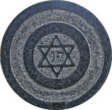 Star of David on old grunge granite tombstone. Isolated on white Stock Photo
