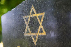 Star of David. On an old tombstone in the Czech republic Royalty Free Stock Photography
