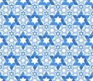 Star of David pattern. Blue vector jewish pattern seamless Royalty Free Stock Photos