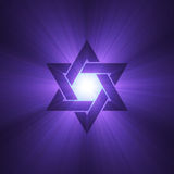 Star of David symbol purple light flare Royalty Free Stock Images