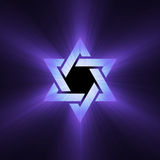 Star of David purple light flare Royalty Free Stock Images