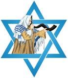 Star Of David Rabbi With Talit Blows The Shofar. A vector illustration of a Rabbi with Talit blows the shofar with the star of David for the Jewish holiday Yom stock illustration