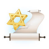 Star of David and scroll Royalty Free Stock Photo