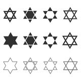 Star of david shape icon set in black flat and outline design. Israel Independence Day holiday concept Stock Image