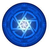 Star of David , Shield of David , Magen David ,  illustration , icon. Pictogram Magen David and Kolovrat intertwined in one circle. Star of David , Shield of Royalty Free Stock Images