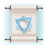 Star of David sign and scroll Royalty Free Stock Images