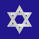 Star of David silver sign blue background Royalty Free Stock Image