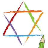 Star of David sketch. Doodle style Star of David Jewish religious symbol vector illustration Royalty Free Stock Photo