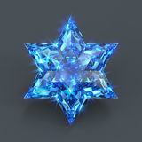 Star of David sparkling sapphire. David star shaped blue stone unset. Isolated six pointed crystal star. Blue gemstone shining with glare and flare Royalty Free Stock Photos