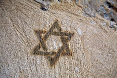 Star of David. On the stone wall Stock Images