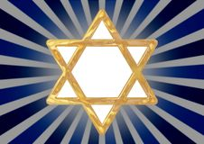 Star of David symbol. Illustrated star of David symbol on an abstract blue background Stock Photos