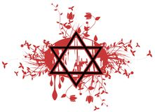 Star of David tattoo in black Stock Images
