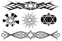 Star of David tattoo in black isolated Stock Photography