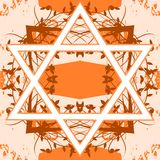 Star of David tattoo on floral background Stock Images
