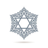 Star of David. Vector Jewish ornament. Blue icon on white background. With shadow. Hexagonal emblem with oriental traditional black decor royalty free illustration