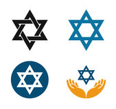 Star of David vector logo. Judaism or Jewish set icons royalty free illustration
