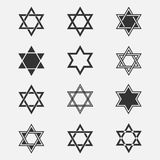 Star of David vector set. Collection of Jewish stars isolated from the background. Star of David logo. Icons Magen David in a flat style. Are different Black Stock Photography