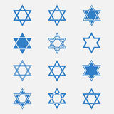 Star of David vector set. Isolated from the background. Blue Jewish Star in flat style. Abstract icons Magen David or David Shield. Solomon Seal signs Royalty Free Stock Photos