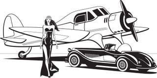 Star de cinéma avec le rétro avion et la voiture classique illustration libre de droits