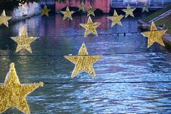 Star decorations on Sile river, Treviso, Italy Stock Image