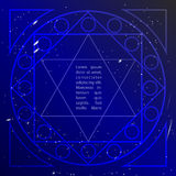 Star in deep blue sky in sacral geometry style. Cosmic star of David. Spirituality in art design of sacral geometry. Stock Photography