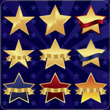 Star design set. On a blue background Stock Photos
