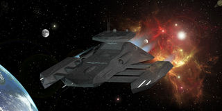 Star Destroyer. In deep space 3d rendering Stock Image