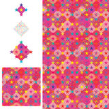 Star diamond shape seamless pattern. This illustration is design and drawing colorful star with diamond shape in pink color theme background and seamless pattern Stock Images