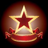Star display. Golden star with blank banner Stock Photos